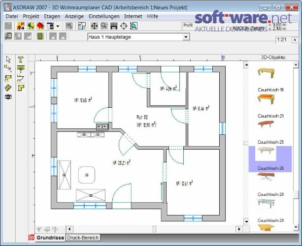 Wohnraumplaner  3D Wohnraumplaner CAD - Download (Windows / Deutsch) bei SOFT-WARE.NET