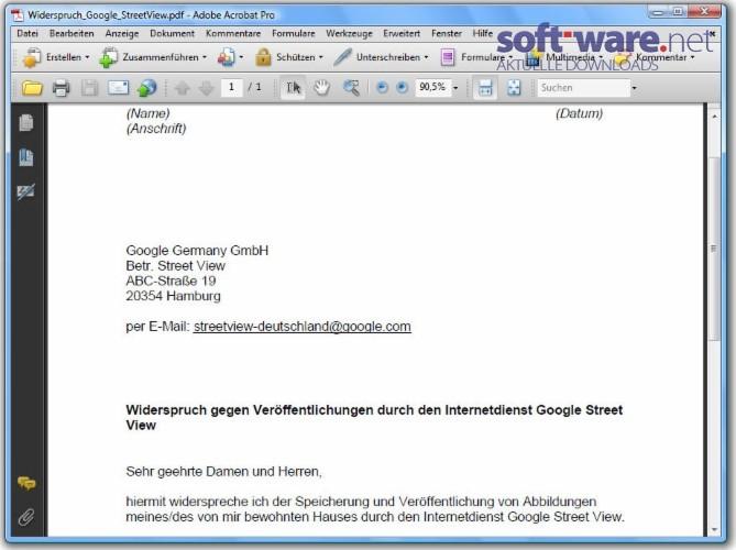 widerspruch google streetview - Widerspruchsschreiben Muster