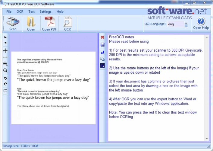Free OCR - Download (Windows / Deutsch) bei SOFT-WARE NET