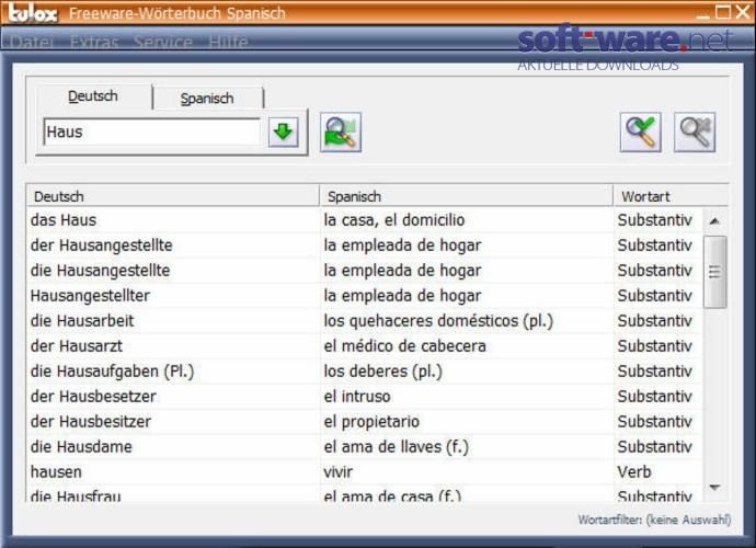 Tulox Freeware Wörterbuch Spanisch 1.82   Download (Windows / Deutsch) Bei  SOFT WARE.NET