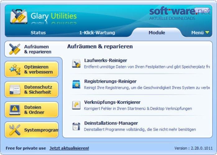 glary utilities download windows deutsch bei soft. Black Bedroom Furniture Sets. Home Design Ideas