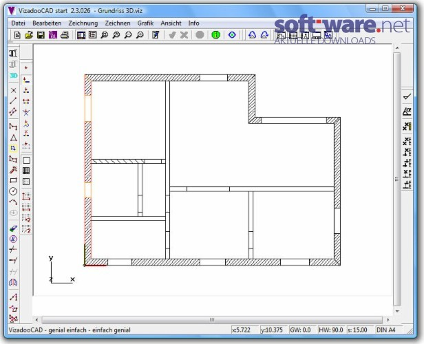 Grundriss Zeichnen Gratis : VizadooCAD start 23  Download (Windows  Deutsch) bei SOFTWARENET