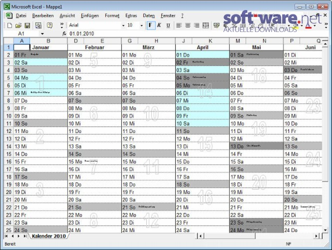 kalender excel download windows deutsch bei soft ware net. Black Bedroom Furniture Sets. Home Design Ideas
