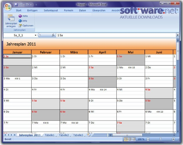 SmartTools Jahresplan fu00fcr Excel 3.0 - Download (Windows / Deutsch) bei SOFT-WARE.NET
