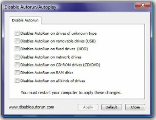 Disable Autorun Screenshot