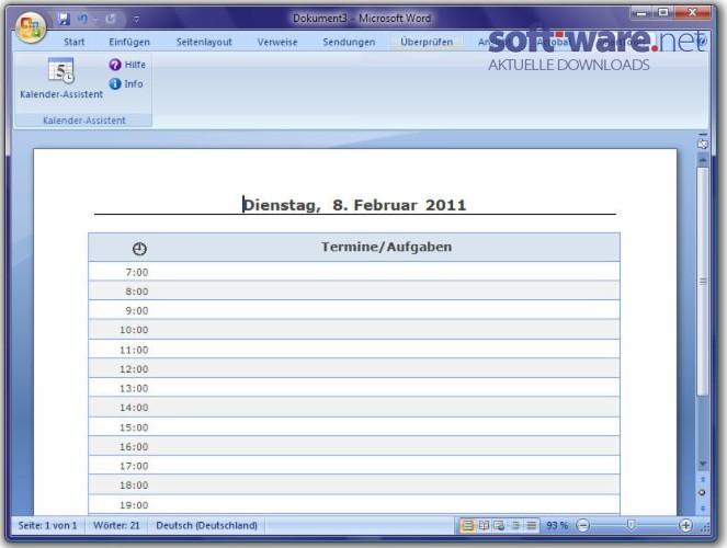smarttools kalender assistent 5 0 f r word download windows deutsch bei soft ware net. Black Bedroom Furniture Sets. Home Design Ideas