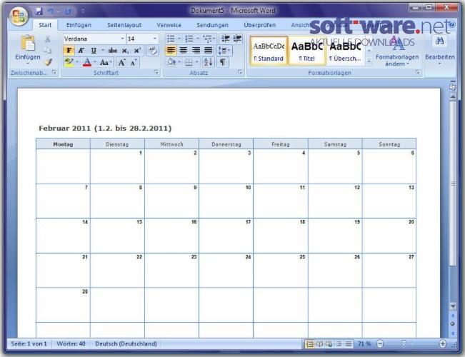 smarttools kalender assistent 5 0 f r word download. Black Bedroom Furniture Sets. Home Design Ideas