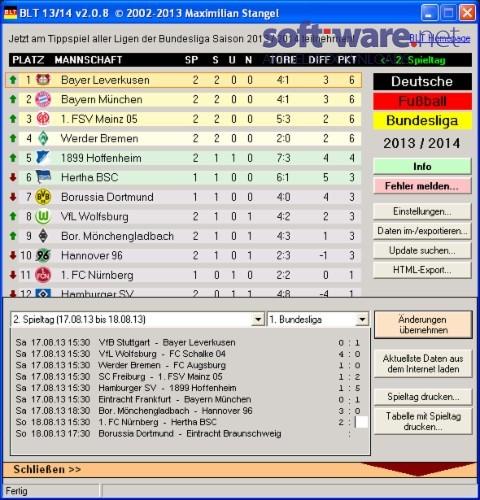 blt die bundesliga tabelle 2013 2014 download
