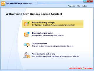 Outlook Backup Assistant Screenshot