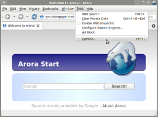 Arora Screenshot