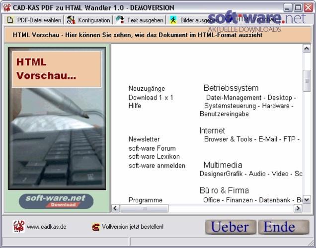 pdf zu html wandler download windows deutsch bei soft ware net. Black Bedroom Furniture Sets. Home Design Ideas