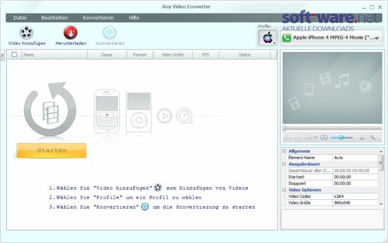 any video converter download windows deutsch bei soft ware net. Black Bedroom Furniture Sets. Home Design Ideas